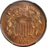 1873 Two-Cent Piece. Open 3. Proof-66 RB (PCGS).