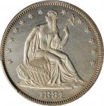 1881 Liberty Seated Half Dollar. WB-101. Type I Reverse. Proof-63 (PCGS).