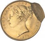 GRANDE-BRETAGNE Victoria (1837-1901). Souverain, coin #11, double frappe, la seconde décalée de 85 %