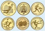 中外1982年第十二届世界杯足球赛纪念金币1/4盎司一组6枚 完未流通