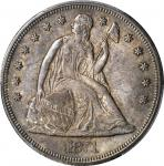 1871 Liberty Seated Silver Dollar. OC-13. Rarity-2. MS-64+ (PCGS).