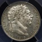 GREAT BRITAIN George III ジョージ3世(1760~1820) 6Pence 1818 PCGS-MS64 UNC+