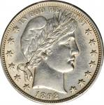 1892 Barber Half Dollar. AU Details--Cleaned (PCGS).