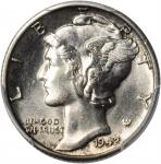 1942/1-D Mercury Dime. FS-101. MS-64 FB (PCGS).