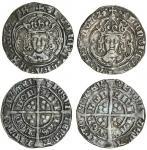 Henry VII (1485-1509), Groats (2), both type IIIC, 3.04g, m.m. greyhound head 1/ greyhound head 2, h
