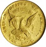 1852 Augustus Humbert $10. K-10. Rarity-5. Gold S.S. Central America Label. EF-40 (PCGS).