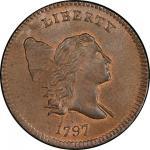 1797 Liberty Cap Half Cent. Cohen-1. Rarity-2. 1 Above 1. Plain Edge. Mint State-66 RB (PCGS).