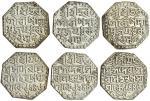 Assam, Śiva Simha (1714-44), octagonal Rupees (3), 11.32, 11.30, 11.27g, no queen, Sk. 1644, 16