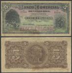 Banco Comercial De Costa Rica, 5 Colones, 1 December 1906, serial number 62586, black on multicolour