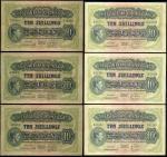 East African Currency Board, 10 shillings (5), 1949, 1950, prefixes Z/3, B/19, B/30, B/35, (Pick 29b