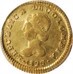 COLOMBIA. Escudo, 1826-FM. Popayan Mint. PCGS Genuine--Cleaned, AU Details Gold Shield.