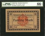 GERMAN EAST AFRICA. German Kamerun. 50 Mark, 1914. P-2b. PMG Gem Uncirculated 66 EPQ.