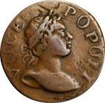 1760 Voce Populi Farthing. Nelson-1, W-13800. Large Letters. Obverse Brockage. EF-40 (PCGS).