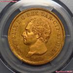 PCGS/AU  1830意大利撒丁岛80里拉金币25.7g