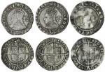 Elizabeth I (1558-1603), sixth issue, Sixpences (3), 1585, 2.91g, m.m. scallop, elizab d g ang fr et