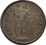 1787 Massachusetts Half Cent. Ryder 3-A, W-5920. Rarity-5-. MS-62BN (PCGS).