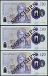 Bank of England, Sarah John, polymer £20, ND (20 February 2020), serial number AA01 001939/1943/1944