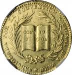 PERU. National Constitutional Convention Gold Proclamation Medal, 1856. Republic. NGC AU Details--Re