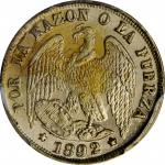 CHILE. 1/2 Decimo, 1892/82-So. Santiago Mint. PCGS MS-65 Gold Shield.