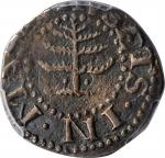 1652 Pine Tree Sixpence. Noe-33, Salmon 2-B, W-670. Rarity-3. Pellets at Trunk. VF Details--Environm