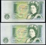 Bank of England, D. H. F. Somerset, ERROR £1, ND (1981), serial number DX07 837659, also an ERROR £1