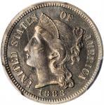 1883 Nickel Three-Cent Piece. Proof. AU Details--Tooled (PCGS).