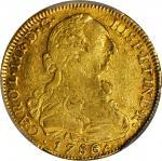 COLOMBIA. 8 Escudos, 1786-NR JJ. Santa Fe de Nuevo Reino (Bogota) Mint. Charles III (1759-88). PCGS