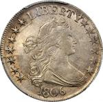 1806 Draped Bust Half Dollar. O-121, T-129. Rarity-4. Pointed 6, Stem Through Claw. AU Details--Clea