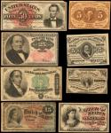 Lot of (8) Fractional Currency Notes. 3 to 50 Cents. Fine/Very Fine.