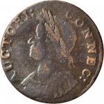 1786 Connecticut Copper. Miller 5.5-M, W-2595. Rarity-3. Mailed Bust Left. Fine-15 (PCGS).