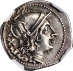 ROMAN REPUBLIC. Anonymous. AR Denarius (4.17 gms), Rome Mint, After 211 B.C. NGC AU, Strike: 5/5 Sur