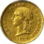 COLOMBIA. 1859 2 Pesos. Popayán mint. Restrepo 231.1. MS-62 (PCGS).