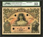 CANADA. Imperial Bank of Canada. 50 Dollars, 1907. CH-375-12-16S. Specimen. PMG About Uncirculated 5