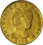 COLOMBIA. 1833/2-UR 8 Escudos. Popayán mint. Restrepo M166.34. AU Detail — Scratch (PCGS).