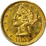 1851-D Liberty Head Half Eagle. AU Details--Ex Jewelry (PCGS).