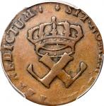 1722/1-H Sou, or 9 Deniers. La Rochelle Mint. Martin 2.13-C.3, W-11835. Rarity-3. VF-30 (PCGS).