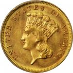 1883 Three-Dollar Gold Piece. MS-64 (PCGS).