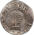 1652 Pine Tree Shilling. Large Planchet. Noe-1, Salmon 1-A, W-690. Rarity-2. Pellets at Trunk--Count