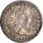 1803 Draped Bust Half Dime. LM-1, V-6. Rarity-6. Small 8. VF-35 (PCGS).