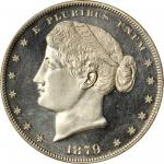 1879 Pattern Metric Dollar. Judd-1622, Pollock-1818. Rarity-6. Silver or Goloid. Reeded Edge. Proof-