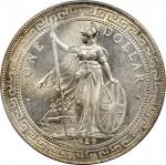 1929-B年英国贸易银元站洋一圆银币。孟买铸币厂。GREAT BRITAIN. Trade Dollar, 1929-B. Bombay Mint. PCGS MS-65+ Gold Shield.