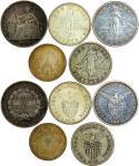 1860年泰国一铢, 1903S-1910S菲律宾一比索, 1906年法属安南一盾银币一组伍枚, 均GVF-AU