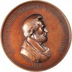 1862 Abraham Lincoln Indian Peace Medal. Large Format. Bronzed Copper. 76 mm. By Salathiel Ellis and