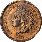 1871 Indian Cent. Bold N. MS-65 RB (NGC).