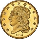 1831 Capped Head Left Half Eagle. Bass Dannreuther-2. Rarity-6. Large 5D. Mint State-65+ (PCGS).