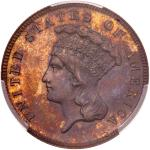 1867 Pattern Three Dollars. Copper, reeded edge. PCGS PF65