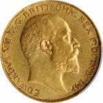 1908-S年澳大利亚 1/2Sovereign金币。悉尼造币厂。AUSTRALIA. 1/2 Sovereign, 1908-S. Sydney Mint. PCGS AU-55 Gold Shie
