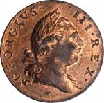 1773 Virginia Halfpenny. Newman 26-Y, W-1680. Rarity-2. Period After GEORGIVS, 8 Harp Strings. MS-64