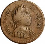 1786 Connecticut Copper. Miller 1-A, W-2460. Rarity-4+. Mailed Bust Right, Double Chin, ET LIB INDE.