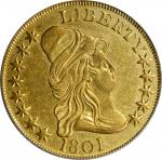 1801 Capped Bust Right Eagle. BD-2, Taraszka-25. Rarity-2. EF-45 (PCGS).